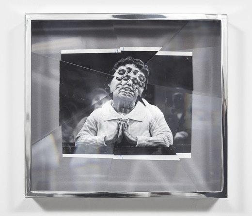 Jeremy Shaw, Towards Universal Pattern Recognition (Silent Prayer for the Health of the Pontiff, 1981), archival black/white photograph, acrylic, chrome, 2017, 42.80 x 38.50 x 14 cm, unique