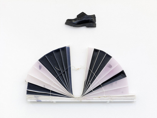 Lisa Lapinski, Untitled (ref C), wax, blind, resin, epoxy, shoe, 2013, 50.8 x 58.42 x 2.54 cm, unique