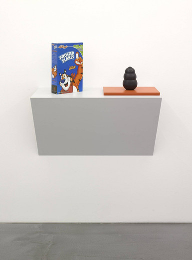 "Haim Steinbach, 'it is I-1', Plastic laminated wood shelf; ""Frosted Flakes"""" cereal box; rubber dog chew"", 2008, 80.65 x 81.28 x 40.64 cm"