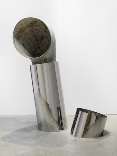 "<span class=""artists work-caption"">Kathryn  Andrews</span><span class=""title work-caption"">Titanic</span><span class=""technique work-caption"">stainless steel and certified film prop</span><span class=""year work-caption"">2017</span><span class=""dimensions work-caption"">243.84 x 195.58 x 97.79 cm</span><span class=""edition work-caption"">unique</span>"