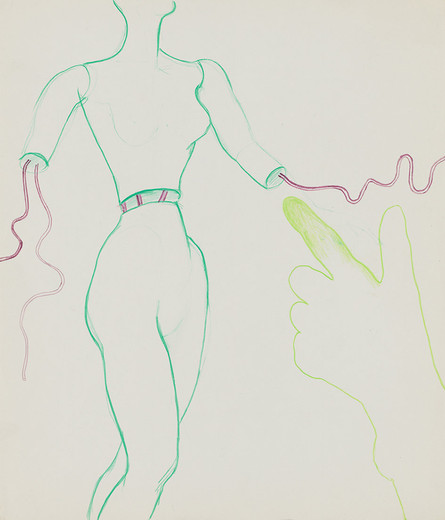 Kiki Kogelnik, Untitled (Female figure), pencil on cardboard, framed, ca. 1964, 35 x 30 cm, unique