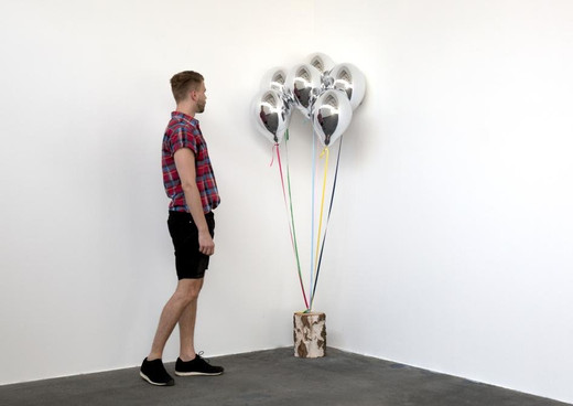 Jeppe Hein, Mirror Balloons with Tree Trunk II, glass fiber reinforced plastic, chrome lacquer, magnet, string, birch stem, 2016, 6 Balloons, each  40 x 26 x 26 cm, 1/3 + 2AP