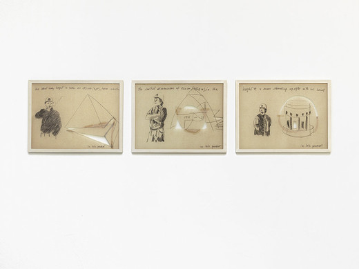 Monica Bonvicini, In His Pocket, triptych, permanent marker, wax crayon, packing paper with cut-out, tape, framed, 1999/2000, 38 x 50.5 cm