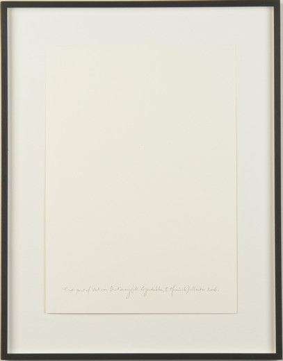 Kris Martin, Endpoint of 'Vatican Dictionary' (M.Leijendekker/E.Hunick), collage and graphiteon paper, framed, 2006, 42 x 29 cm, unique
