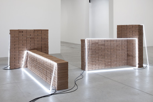 Jose  Dávila, Promise of a Better World, bricks and neon light, 2010, Set 1: 150 x 96 x 180 cm Set 2: 132 x 125 x 240 cm, unique