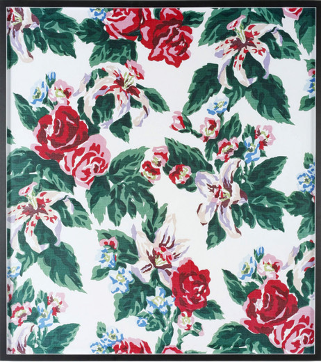 Annette Kelm, Big Print #4 (Fazenda Lily - White Background - Cotton Fall 1947 Design Dorothy Draper, Courtesy Schumacher & Co), C-Print, gerahmt, 2007, 112 x 100,5 cm, 3/5 + 2 AP