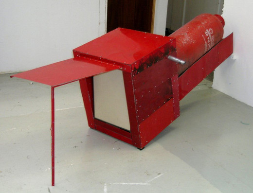Michael Sailstorfer, Auguste, sheet metal, wood, gas bottle, gas, refrigerator, 2004, 92 x 76 x 262 cm