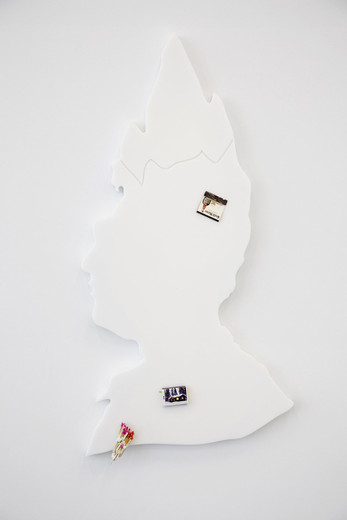 Helen Marten, Hot Frost (glacier), Cast Corian, matchboxes, putty glued matches, 2012, 86 x 45 x 3 cm