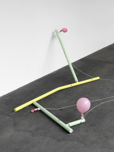 Andreas Zybach, Untitled , powder coated aluminium, cable, air compressor, electric electric control unit, balloon, 2011, dimensions variable, unique