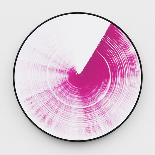 Claudia Comte, Turn and Slip, magenta, 60, acrylic on canvas, framed, 2017, diameter: 60 cm