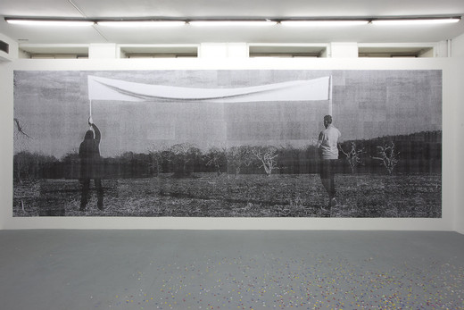 Amalia Pica, On common ground, photocopies, wall paper paste, 2012, 330 x 800 cm