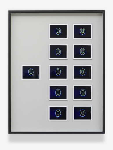 Jeremy Shaw, Aesthetic Capacity (UK Top Ten - New Romantic, 1982), 11 Kirlian Polaroids, framed, 2013, each 10.5 x 8.5 cm; 4 1/4 x 3 1/3 in framed 69.4 x 53.9 x 4 cm; 27 1/3 x 21 1/4 x 1 1/2 in, unique