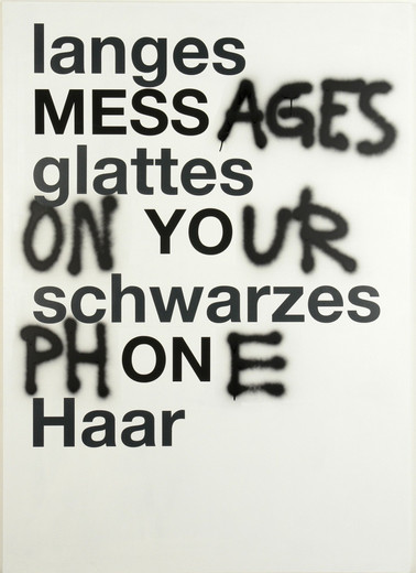 Johannes Wohnseifer, Messages on your phone, acrylic, lacquer on aluminium, 2007, 140 x 100 cm