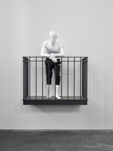 Elmgreen & Dragset, The Observer (Umbro), epoxy, steel, lacquer, fabric, 2021, 163 x 144 x 90 cm, unique