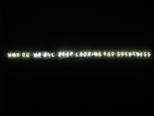 Jeppe Hein, Why do we all keep looking for greatness, neon tube, transformers, 2005, 16 x 345 x 3 cm, 3/5 + II AP