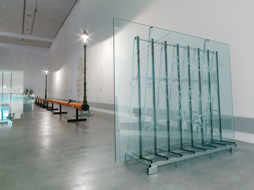 Tue Greenfort, Der Monopolist, glass transport rack, three float glass panes, hydrofluoric acid, 2012, 236 x 320 x 70.5 cm, unique