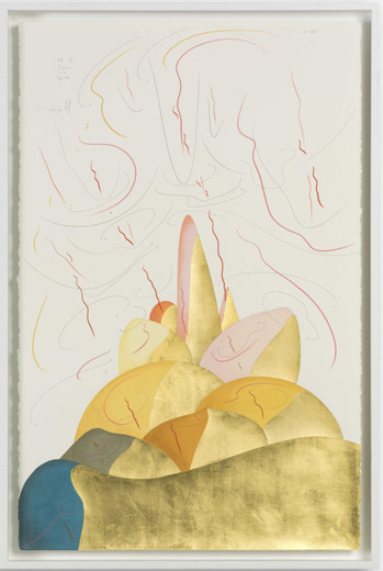 Jorinde Voigt, Hills IX, ink, gold leaf, pastel, oil crayon, pencil on paper, 2017, 102 x 66 cm
