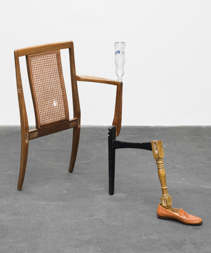 Amalia Pica, Catachresis ♯71 (back of the chair, neck of the bottle, arm of the chair, legs of the chairs, leg of the table, tongue of the shoe), found materials, 2016, 87 x 58 x 100 cm, unique