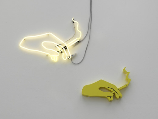 Helen Marten, Night Lites (dusty lemon), Custom fabricated Neon, hi-density polystyrene, laser cut powder coated steel, cut vinyl, 2 parts, 2011, dimensions variable