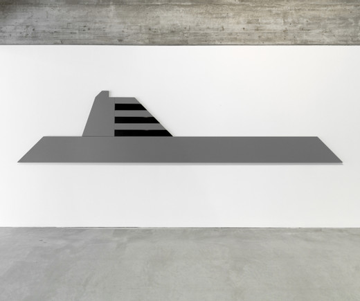 Johannes Wohnseifer, Megayacht-Painting #3, powder coated aluminium, RAL 7000, RAL 9005, 8 parts, 2015, 110 x 500 cm, unique
