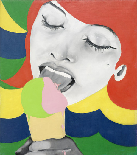 Evelyne Axell, Ice Cream 1, oil on canvas, 1964, 80 x 70 cm, unique