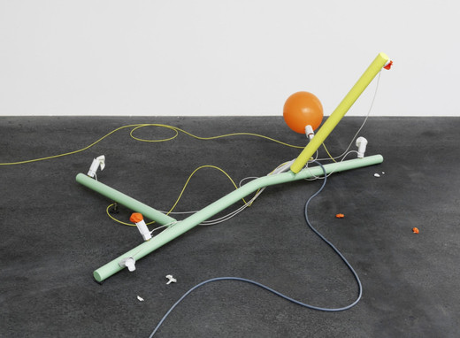 Andreas Zybach, Untitled, powder coated aluminium, cable, air compressor, electric electric control unit, balloon, 2011, dimensions variable, unique