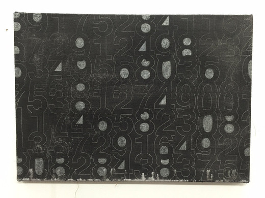Johannes Wohnseifer, Numbers, scotchlite, lacquer, laser engraving, crayon on jute, 2016, 50 x 70 cm