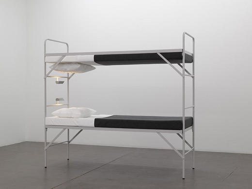 Elmgreen & Dragset, Boy Scout, metal bunk bed, foam mattresses, sheets, pillows, woolen blankets, 2008, 188 x 207 x 77 cm