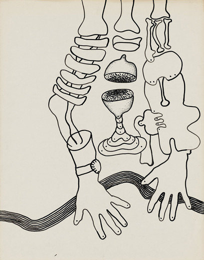 Kiki Kogelnik, Untitled (Still-life with body parts), ink on paper, framed, ca. 1964, 73 x 58 cm, unique