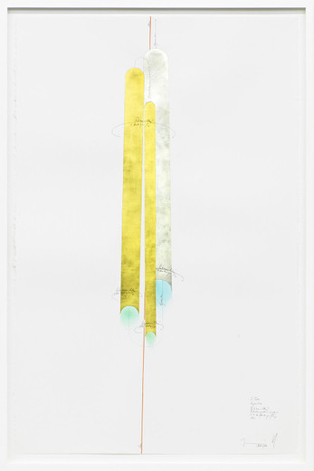 Jorinde Voigt, 3 Tubes, ink, gold leaves, oil crayon, pastel, pencil on paper, framed, 2014, 102 x 66 cm, unique