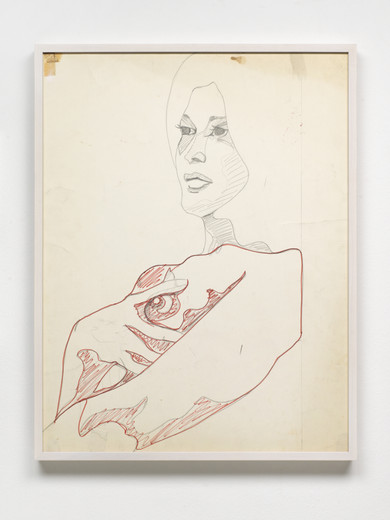 Evelyne Axell, Etude pour L´Italienne - Etude pour Autoportrait, pencil and felt-tip pen on paper, recto/verso, framed, 1969, 66.80 x 51.80 cm, unique