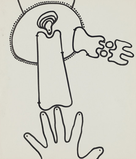 Kiki Kogelnik, Untitled (Still-life with hand), ink on paper, framed, ca. 1964, 35 x 30 cm, unique