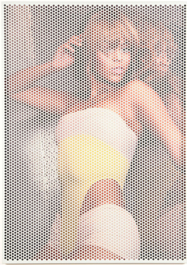 Johannes Wohnseifer, Beyoncé Painting (RAL 9018-Papyrusweiß), perforated, powder coated aluminium, printon PVC, 2007, 140 x 100 cm