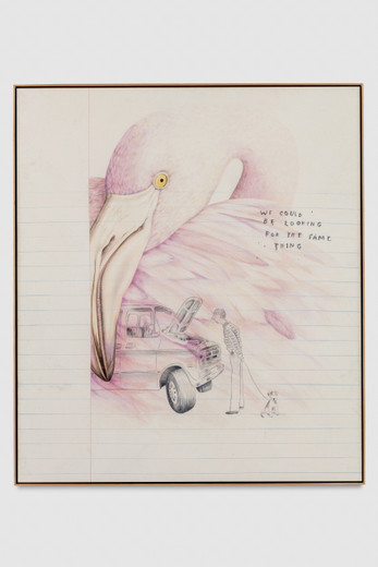 Friedrich Kunath, We Could Be Looking for the Same Thing, colored pencil and graphite on canvas, 2016, 56.75 x 49.50 in