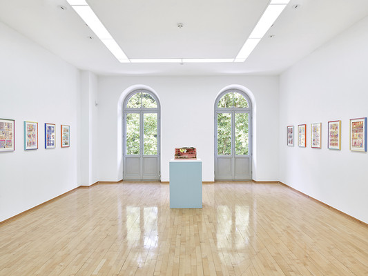 exhibition view, Nothing New (left and right), Washout (middle), photo: Niels Schabrod