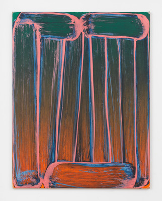 Robert Janitz, freed from the obligation to progress, 2019, oil, wax, flour on linen, 137,2 x 106,7 cm