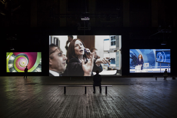 Installation view, Julian Rosefeldt. Manifesto, Park Avenue Armory, New York, December 2016–January 2017 Photo: James Ewing Photography © Park Avenue Armory, 2016