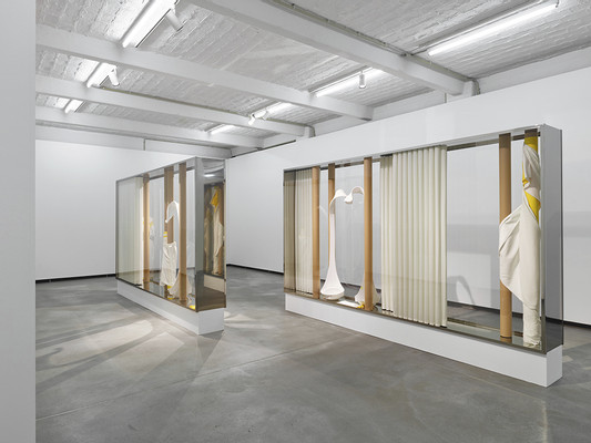 exhibition view Wald (left and right), 2017, metal, glas, cardboard, fabric, plastic, lacquer, 200 x 380 x 42 cm (each), photo: Niels Schabrod