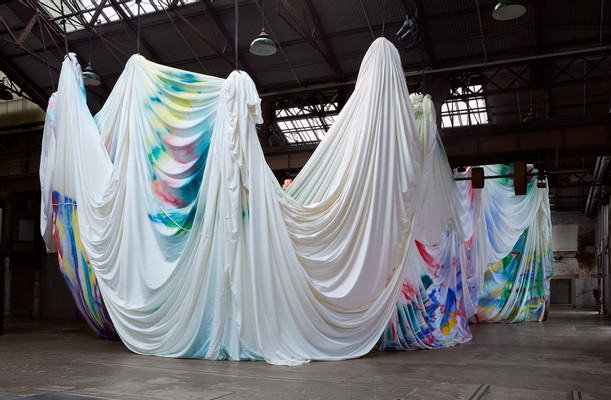 Katharina Grosse, The Horse Trotted Another Couple of Metres, Then it Stopped, 2017, acrylic on fabric, installation view, commissioned by Carriageworks, Sydney. Image courtesy the artist and Gagosian © Katharina Grosse and VG Bild-Kunst, Bonn 2017, photograph: Zan Wimberley