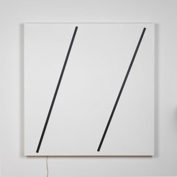 2-Gerhard von Graevenitz Kinetisches Objekt, Zwei vertikale Streifen, 1976 iron strips, engine, electrical contraption, emulsion paint on wood 122 x 122 cm   48 x 48 in GG:I 1 IV